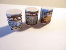3 Maison De Poupées Miniature pots de crème glacée