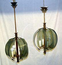 COPPIA LAMPADARIO VETRO 1950 DESIGN LAMPADA FONTANARTE PIETRO CHIESA CHANDELIER