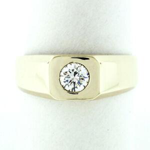 Men's 14k Gold Large 0.45ct Burnish Round Diamond Solitaire Polished Band Ring