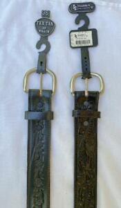 2 New Mens Size 36 Western Tooled Leather Belts Dark Grey Tex Tan Black Double S