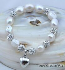Stretch 15mm white baroque freshwater pearl bracelet 8inch