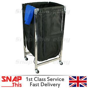 Rolling Laundry Cart Salon Spa Towel Basket Hotel Housekeepers Black Industrial