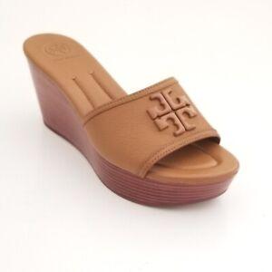 NEW Tory Burch Lowell  Wedge Slide/Tumbled Leather Royal Tan Beige Sandals Sz 8