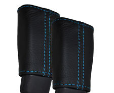 BLUE STITCH 2X FRONT SEAT BELT LEATHER SKIN COVERS FITS HYUNDAI I40 2011-2015