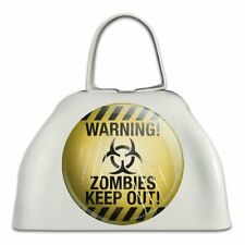 Warning Zombies Keep Out White Metal Cowbell Cow Bell Instrument