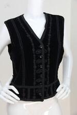 Jil Sander Sz 40 Black Velvet Embellished Sequin Beaded Sleeveless Vest