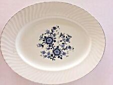 Royal Blue Ironstone Enoch Platter Oval Wedgwood Tunstall England Silver Trim