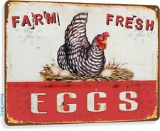 Farm Fresh Eggs Vintage Rustic Retro Tin Sign