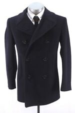 vintage 50s mens midnignt blue USN MILITARY PEA COAT double breasted XS 34 R