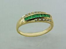 Ring, Damenring, Goldring, Smaragdring mit Diamanten  in Gold 585/ooo