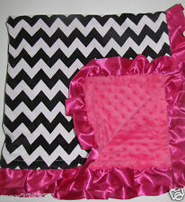 NEW Hot pink Minky Dots Baby Nursery Receiving Blanket Satin Ruffle CHEVRON Girl