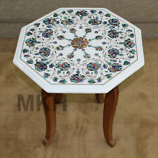 "17"" White Marble Coffee Table Top Center Tables Marquetry Decorative Vintage Art"