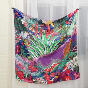 Women Fashion Blanket Shawl Scarf Floral Print Kerchief Imitate Silk Stole 130cm
