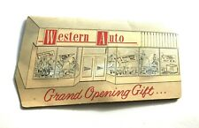 Vtg Advertising Needle Book w/Neat Graphic - Western Auto Grand Opening Gift