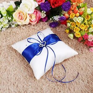 Wedding Bearer Holder Pillow Cushion With Bowknot Stain Double Hearts