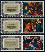 1978 NIUE CHRISTMAS SET OF 3 STAMPS WITH TABS FINE MINT MUH/MNH