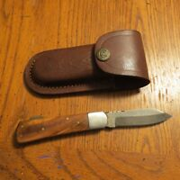 Damascus folding blade knife with light wood handle leather sheath hand made
