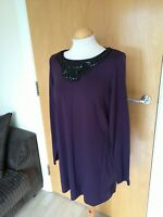 Ladies M&S Dress Size 14 Purple Beaded Neckline Tunic Smart Casual Day Party