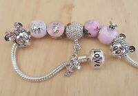 Disney Pink Castle Family Vacation Heart Minnie Mickey Mouse Clip Charm Bracelet