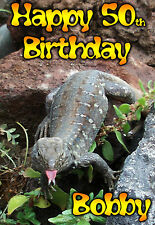 Lizard Drinking Funny PERSONALISED Birthday card / stag night drinking / beer