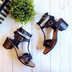 Bamboo Black Double Strap Block Heel Sandals, Size 8