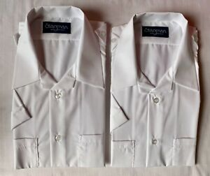 """Two White Open necked Short Sleeve Shirts With 2 front pocket & Epps Size 16.5"""""""