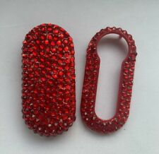 Fiat 500 Panda Punto Bravo 3 Key Fob Remote Cover Crystal Bling Case RED Diamond