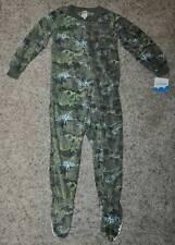 NWT $26-Boys JB Green Camouflage Dinosaur 1 Pc Footed Fleece Blanket Pajamas- 4