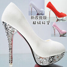 Womans Glitter Gorgeous Wedding Bridal Evening Party Crystal High Heels Shoes AA