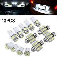 LED Light Interior In 13 Pcs White T10 & 31mm Festoon Map Dome License Plate Kit
