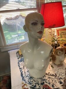 Vintage Woman's Display Mannequin Head Torso Female RARE Kitsch Oddity Weird