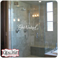 "Bathroom Shower Door - Your Choice of Colors""GET NAKED"" Vinyl Lettering Decal"
