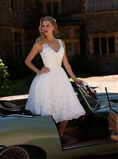 Tea Length Beach Short Lace Wedding Dress with Lace Sequins Bridal Gown US16