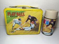 MLB Baseball Play Ball Thermos 1969 Metal Lunch Box Very Nice!!!