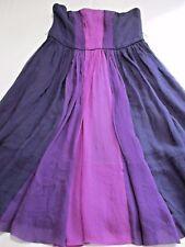 OASIS GORGEOUS PINK & PURPLE PLEATED SILK CHIFFON STRAPLESS SUMMER DRESS UK 12