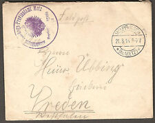 WWI 1915 Germany Military FELDPOST / Field Post  Postal Cover WAPPINGEN