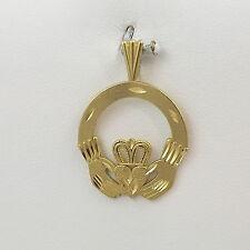 14K Gold Ireland Irish Diamond Cut Claddagh Celtic Charm Pendant 1.9 gr