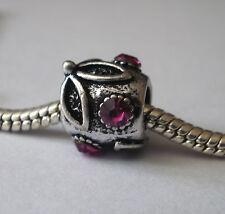 Bead Element Kugel Blume Strass Pink Farbe Antiksilber Silber für Armband 0633