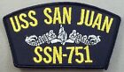 US Navy USS San Juan SSN-751 Merrowed Edge Cap Patch With Enlisted Insignia