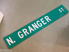"LARGE ORIGINAL N FRANKLIN  ST STREET SIGN 48/"" X 9/"" WHITE LETTERING ON GREEN"