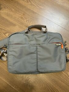 "Incase Gray & Orange Padded Laptop Computer Bag 13"" Crossbody W/ Shoulder Strap"