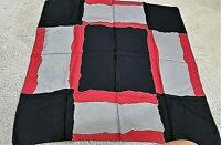 "Vintage silk hand rolled black red gray color blocked pocket square 28"" X 28"""
