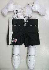Canadien hockey shoulder shin pants pads yth size used Vtg rare kit jr SP 36 PW