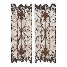 Wood Wall Decor Set Rustic Panel Furniture Metal Art Accent Distressed 2 Pair