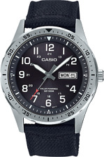 Casio MTP-S120L-1AV, Men's Watch, Black Nylon, Black Dial, Date, Solar Battery