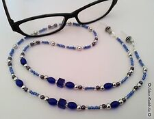 Blue Glass Eye Glasses Holder Necklace Lanyard HANDMADE, Fashion Accessory SALE!