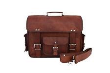"""Vintage leather briefcase messenger bag office laptop satchel shoulder bag 16"""""""