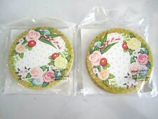 2 Packs of Mary Engelbreit ~ Floral Border Paper Coasters ~ New In Pkg