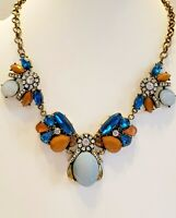 Vintage /Edwardian/Georgian Influence/Lucite/Rhinestone/Blue/Coral/Bib Necklace