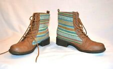 BLACK POPPY PAC SUN Lace Up Front TAN and multi color AZTEC Jacquard Ankle Boots